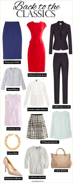Back to The Classics Wardrobe – Office Outfits – Office Fashion Lawyer Fashion, Office Fashion, Business Fashion, Work Fashion, Business Style, 50 Fashion, Dress Fashion, Classic Wardrobe, Work Wardrobe