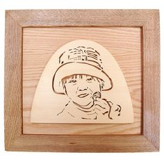 木製の似顔絵プレート