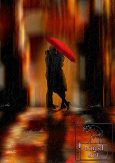 Kiss me in the rain, a digitally created peace of a couple kissing under a red umbrella, the city lights blended in the background and reflected on the street