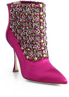 Manolo Blahnik Bragima Embellished Satin Ankle Boots