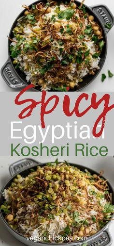 Spicy Egyptian Kosheri Rice Bowl - Foodie Home Chef - African Food Vegan Recipes Easy, Rice Recipes, Vegetarian Recipes, Cooking Recipes, Dinner Recipes, Vegan Ideas, Grilling Recipes, Egyptian Food, Egyptian Recipes