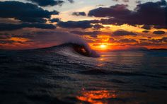 Sunset through the ocean-waves [ 2048 × The Ocean, Ocean Sunset, Hawaiian Sunset, Blue Sunset, Pacific Ocean, Waves Wallpaper, Sunset Wallpaper, Hd Wallpaper, Amazing Wallpaper