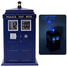 Doctor Who TARDIS Projection Alarm Clock that plays the TARDIS noise when the alarm goes off...gimmie
