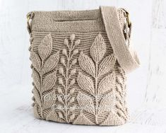 Embossed Crochet Bag PATTERN - Spica - Women Handbag Purse, Shoulder, Crossbody, Messenger, Boho - Textured Cable Leaf - Video - PDF *This is a crochet pat Boho Crochet, Crochet Hooks, Crochet Bikini, Crochet Handbags, Crochet Purses, Crochet Bags, Crochet En Relief, Crochet Stitches, Bag Patterns