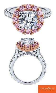 This stunning 14k White/Pink Gold Diamond Pink Sapphire Halo Engagement Ring by Gabriel & Co. is one to remember and have! Looking for some White Gold, Pink Gold, Pink Sapphire, and a lot of diamonds for your engagement ring?? Check out this amazing one designed and crafted by Gabriel & Co.!