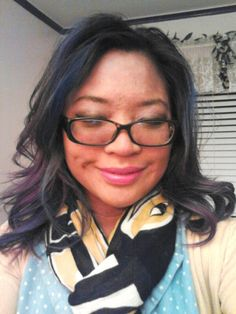 "Finally found a hairstyling method that gives me the soft blownout #curls / #waves look. 2"" curling iron and #CarolsDaughter #blowout styling cream. #glamorous #bluehair #purplehair #manicpanic #glasses #makeupartist #ecomakeupartist #endoftheday #pretty #cute #instagood #smile #selfie #me #nofilter"