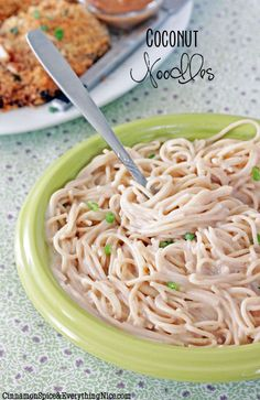 Coconut Noodles, eat them alone or with some crunchy peanut butter Panko covered chicken!