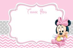 Baby Minnie Mouse Shower Thank You Card