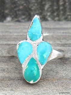 1930 Navajo Sterling Silver & Turquoise Ring Metal Purity 925 Ring Size 3