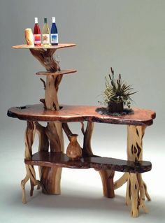 How about a one of a kind bar for your man cave or basement? The artisans of Woodland Creek can made any size and layout to fit your space - custom made furniture is our specialty. Driftwood Furniture, Log Furniture, Custom Made Furniture, Furniture Design, Furniture Ideas, Furniture Repair, Diy Wood Projects, Wood Crafts, Wooden Decor