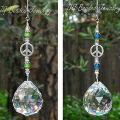 Items similar to Color Changing Prism Crystal Suncatcher With Peace Sign and Mood Beads on Etsy Car Mirror Decorations, Mood Jewelry, Jewelry Ideas, Glass Bead Crafts, Mirror Ornaments, Hanging Crystals, Chakra Crystals, Crystal Beads, Glass Beads