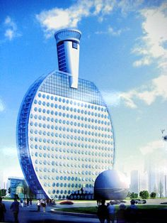 Rendering for quirky ping-pong hotel in China