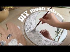 Diy Crafts For Home Decor, Diy Crafts Hacks, Diy Room Decor, Diy Projects, Mirror Crafts, Diy Mirror, Mirror Art, Moon Mirror, Creation Deco