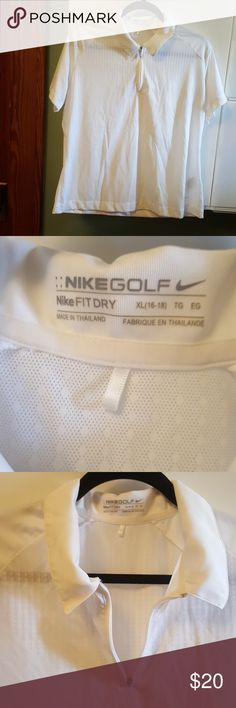 Nike Dri-FIT golf women's extra large white shirt Good used condition Nike golf Nike Dri-FIT extra large 16-18 women's white collared shirt this is beautiful there is textured and non textured sections of the shirt see pictures 100% polyester partial front zip Nike Tops Blouses