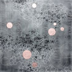 "Lisa Kairos | Compilation of Dawn 2, 2013 | encaustic, oil, paper, metal flake on panel, 24""x24"" /sm"