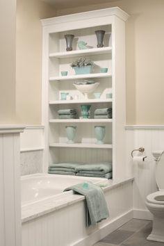 15 Stylish Eclectic Bathroom Design Ideas bathroom storage >> Love this! ideas for a small bathroom Mirror in bathroom: Decorating With Mirr. Bad Inspiration, Bathroom Inspiration, Small Bathroom Storage, Small Bathrooms, Bathroom Shelves, Bath Storage, Storage Spaces, Storage Shelves, Bathtub Shelf