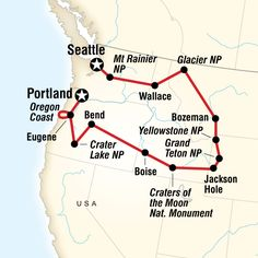 Map of the route for National Parks of the Northwest US