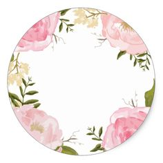 Shop Modern Vintage Pink Floral Wedding Custom Favor Classic Round Sticker created by Jujulili. Personalize it with photos & text or purchase as is! Vintage Pink, Vintage Flowers, Frame Floral, Flower Frame, Pink Roses, Pink Flowers, Wedding Fonts, Flower Backgrounds, Round Stickers