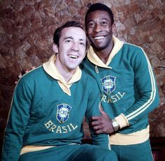 Football, Brazil's Tostao (left) and Pele,stars of the victorious 1970 World Cup winning team in Mexico in happy mood
