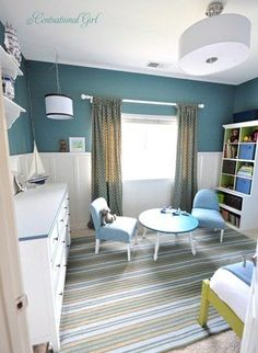 """Love this """"big boy's"""" room.  Room has a little more nautical touches than I like, but I love the colors."""