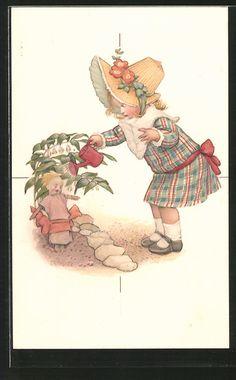 Künstler-AK Susan Beatrice Pearse: Kleine Gärtnerin und Vogelscheuchen-Puppe 0