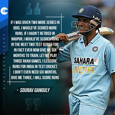 Dada' Sourav Ganguly still backs himself to score runs for Team India in Test cricket