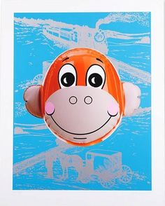 Available for sale from Reuben Colley Fine Art, Jeff Koons, Monkey Train (Blue) Silkscreen on paper, 84 × 66 cm Tv Movie, Blue Artwork, Most Famous Artists, Urban Graffiti, Beach Bath, Beach Towel, Jeff Koons, Balloon Animals, Art Icon