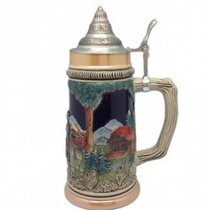 Clock and Waterwheel Beer Stein with metal lid.  #beer #stein #gift #collectible #engraved #lid #german #germany #ceramic #products #ideas #him #drink
