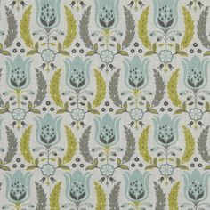 Aqua and Grey Floral Cotton Upholstery Fabric - Yellow Grey Floral Pillow Covers - Aqua Curtain Panels Roman Shade - Etsy Upholstery Fabrics (28.00 USD) by PopDecorFabrics