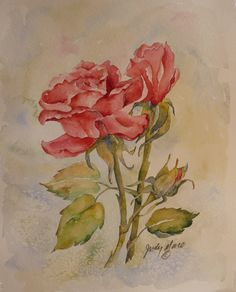 red roses original watercolor painting by DakotaPrairieStudio, $55.00