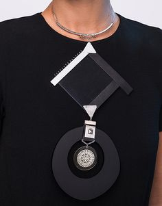 Geometrical Black and Silver Upcycled Fashion Statement Necklace
