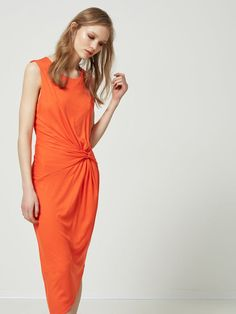 LYOCELL - SLEEVELESS DRESS, Mandarin Red, large