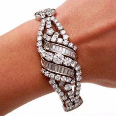 Antique Art Deco 35.00cts Platinum Circa 1930's Diamond Bracelet ... from amazon.com on Wanelo