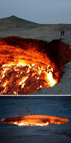 """Derweze, also known as the """"Door to Hell"""", is a 70 meter wide hole in the middle of the Karakum desert in Turkmenistan."""