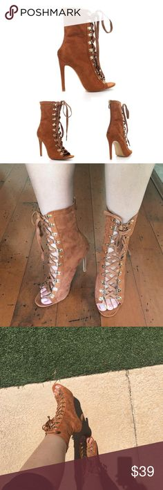 Camel Lace Up Booties Brand new! Gorgeous camel peep toe faux suede booties with a lace up front and a back zipper closure. Heel height is 4.5 inches. Runs half a size bigger. For example if your normally a 8.5 I recommend getting a size 8. Shoes Ankle Boots & Booties