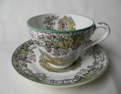 Vintage Spode Copeland Brown Transferware Tea Cup and Saucer Plate Mot – Nancy's Daily Dish