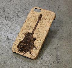 Guitar Music iphone 5 Case, iphone 4 cute case, musician treble clef iphone 5 cork case, rock and roll iphone 5c case cover, iphone 6 guitar