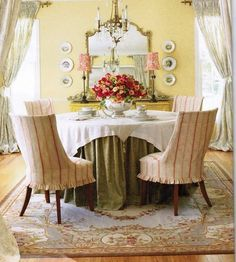 Great room. Love the chamois paint and especially the slipcovered chairs.