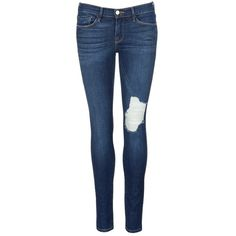 Frame Denim 'Le Skinny De Jeanne' ripped skinny jeans ($125) ❤ liked on Polyvore featuring jeans, pants, bottoms, pants and shorts, skinny jeans, blue, super skinny jeans, skinny fit jeans, distressed jeans and patch jeans