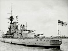 HMS Centurion, a King George V class Battleship, built at HM Dockyard Devonport & commissioned 05/13.  WW I saw action at Jutland. In '19 went to Black Sea as part of the Allied Intervention in Russian Civil War. By WW II she was a fleet tender. 04/41 given a fake supestructure to resemble HMS Anson, at that time still being built. Posted to Mediterranean, principally as a deterrent to Regia Marina. Sunk off Normandy beaches after D-Day to act as a breakwater.