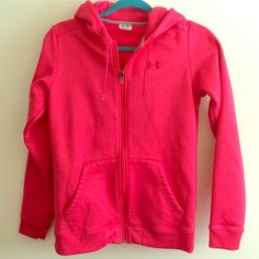 Under Armour zip up hoodie pink Zip up under armour hoodie size small. Color is a raspberry pink. A cold weather zip up. In great condition. No noticeable wear. Zipper and strings still in great condition. Under Armour Tops Sweatshirts & Hoodies