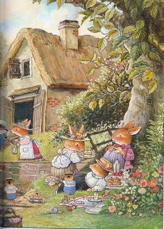 Foxwood Tales by Cynthia and Brian Paterson - I have always loved the charm and detail in these illustrations. Beatrix Potter, Susan Wheeler, Art And Illustration, Book Illustrations, Bunny Art, Whimsical Art, Cute Art, Illustrators, Cute Pictures