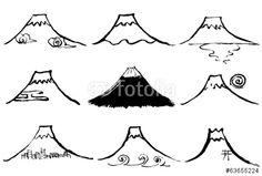 ベクター: 富士山 年賀状 毛筆イラスト 手書き点