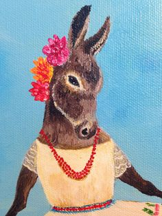 Bull torro donkey burra mexico desert mexican folk by JahnaVashti