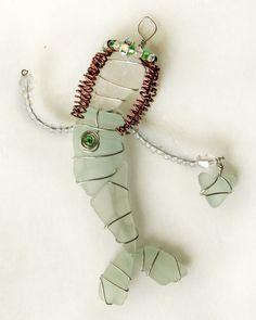 Green Sea Glass Mermaid Ornament by oceansbounty on Etsy