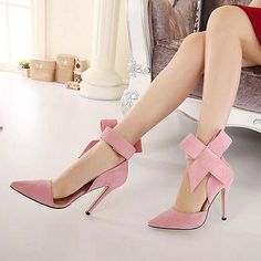 2017 Fashion Bow Suede Pumps Pointed High-heeled Women Shoes Red Black Blue Pink Hollow Women Pumps High Heels Plus Size ZK1.5