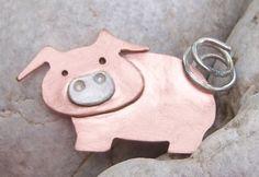 Copper pig brooch £25.00