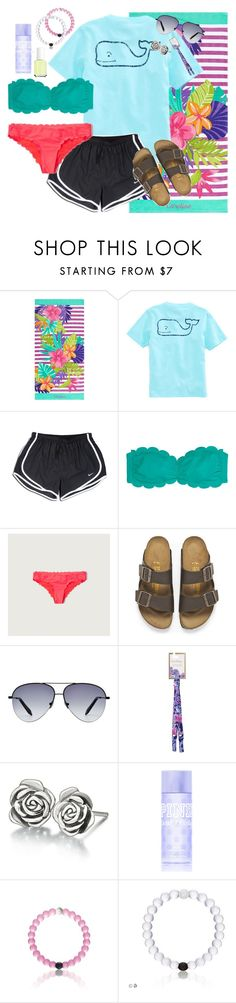 """""""Day 2-beach day"""" by highheel-hannah ❤ liked on Polyvore featuring PBteen, Vineyard Vines, NIKE, Victoria's Secret PINK, Abercrombie & Fitch, Birkenstock, Victoria Beckham, Lilly Pulitzer, Chamilia and Essie"""