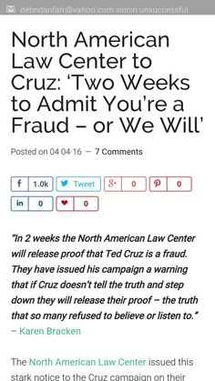 Ted Cruz needs to be honest and stop lying!