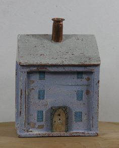 Little Pale Blue Wooden Townhouse, small wooden cottage, tiny house, wooden house, decorated wooden house by WoollyandWoody on Etsy